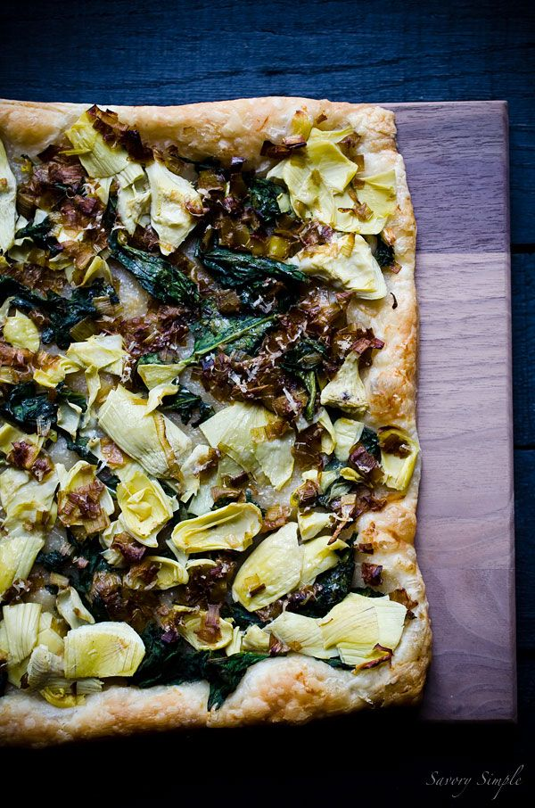 Spinach, Artichoke and Caramelized Leek Tart