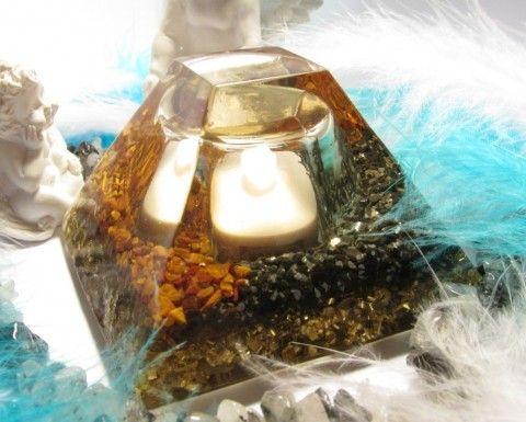 Lampička Tygří oko & Obsidián zdraví léčení orgonit zářiče pohlcovače elektrosmog