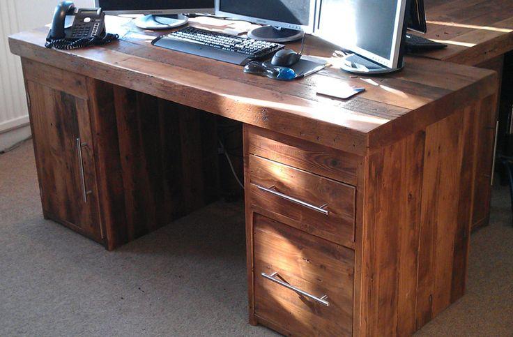 Wooden office desk, Reclaimed wood office desk, Rustic office desk