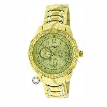 Γυναικείο ρολόι quartz ANGEL με χρυσό καντράν και μπρασελέ. Εγγύηση 2 ετών της επίσημης αντιπροσωπείας #angel #χρυσο #μπρασελε #γυναικειο #ρολοι