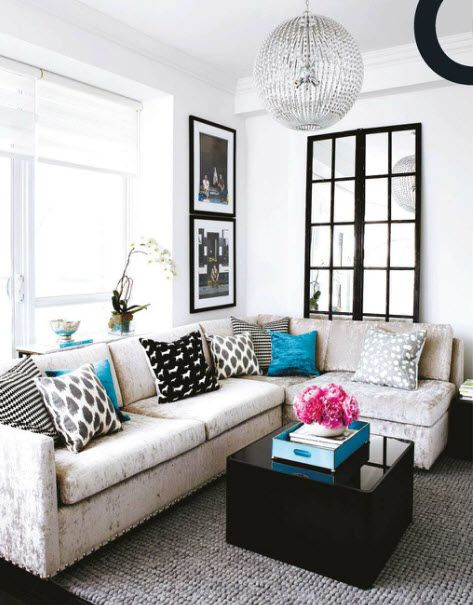 love the pops of color via marcus designDecor Ideas, Living Rooms, Couch, Black And White, Colors, Livingroom, Interiors Design, Black White, House