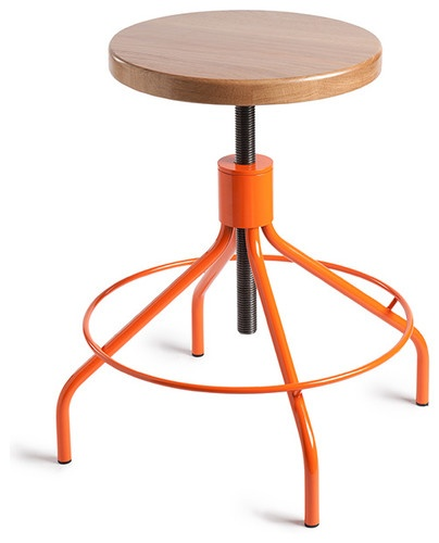 Sputnik Stool Designed By Frederic Frety With Natural Seat And Orange  Powder Coat Base