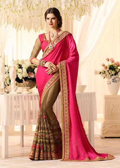 ad45405659916 Plush Bronze Brown and Rani Pink  Saree