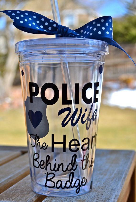 Police Wife, The HEART behing the badge~ Personalized Tumbler on Etsy, $12.00