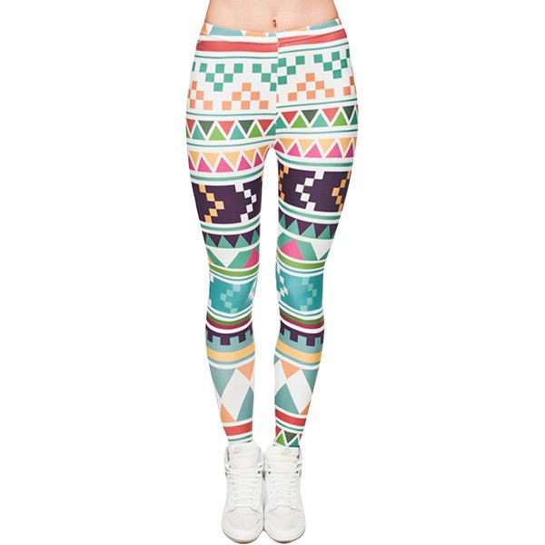 Womens Full Print Aztec Blue  Leggings ($9.09) ❤ liked on Polyvore featuring pants, leggings, blue, white leggings, aztec pants, blue trousers, patterned pants and blue aztec pants