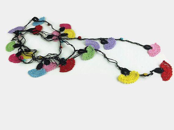 Lange gehaakte Lariat ketting Multicolor Flower ketting haak
