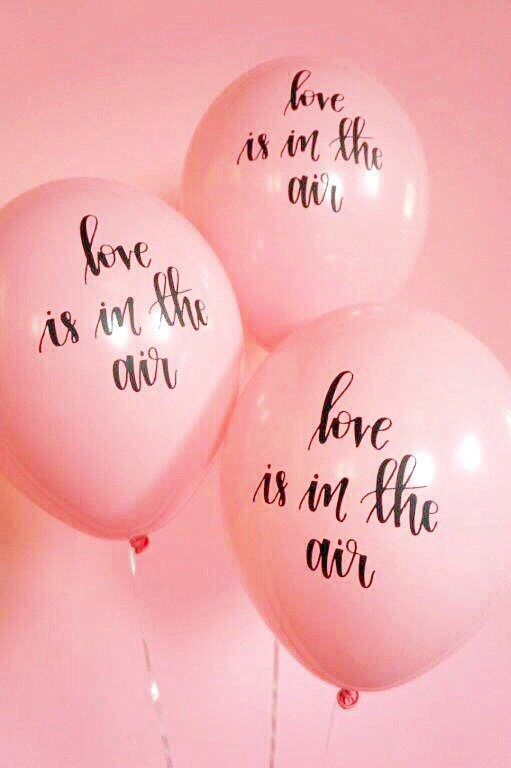 Pink Hand Lettered Balloons Set of 3 от LolasConfettiShop на Etsy