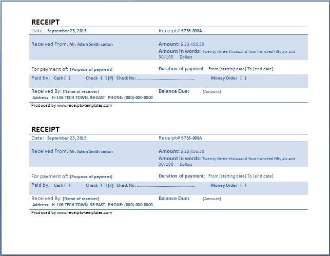 cash payment receipt template at www.receipts-templates.com