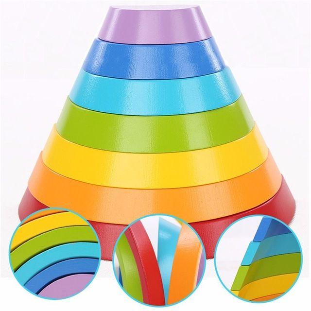 Деревянный Радуга Buliding Детские Раннего Образования Логические Игрушки Подарки Для Детей Детей Образовательных Играть В Игрушки