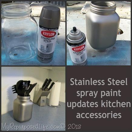 My Repurposed Life-Stainless Steel Spray Paint...my butcher block!