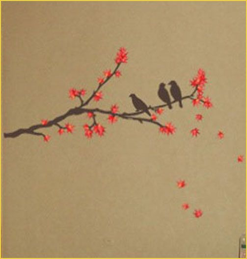 Maple tree & bird wall art deco mural sticker es01 Love Bird On A Branch Tattoos
