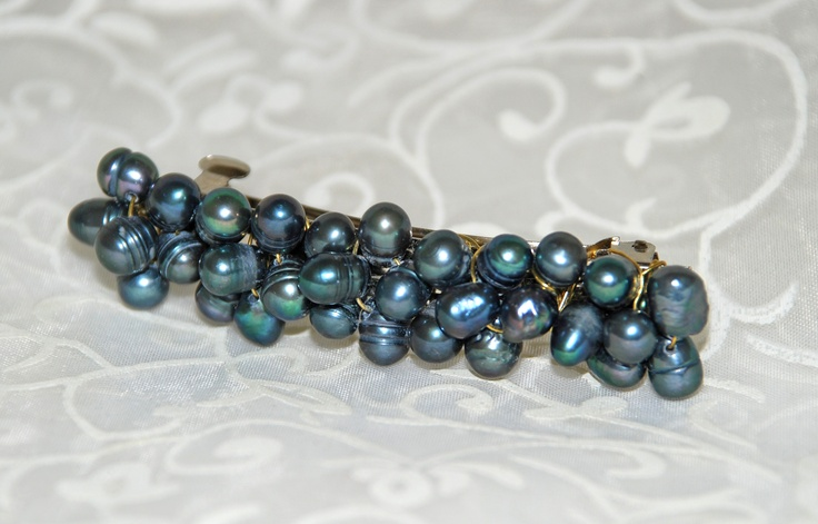 This barette hair clip is smothered in black peacock fresh water pearls.