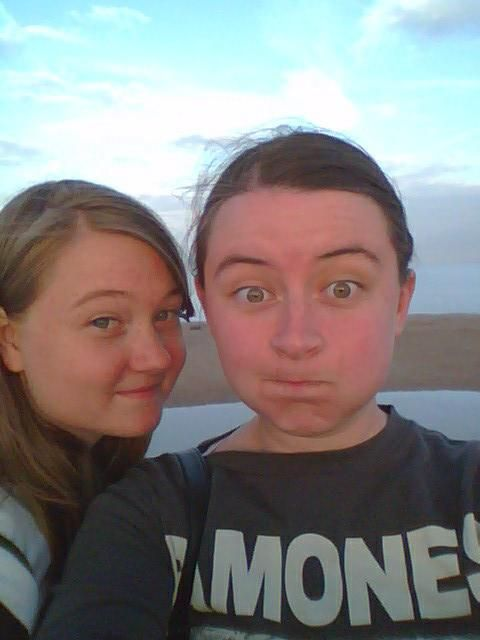 me and my little sister jess at the pier in skegness