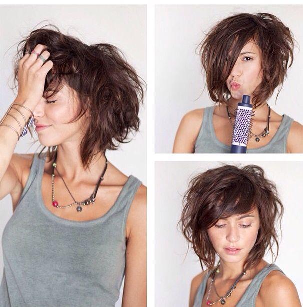 Carré plongeant volume | Coiffure | Coiffure cheveux mi court, Coiffure cheveux bouclés y Cheveux