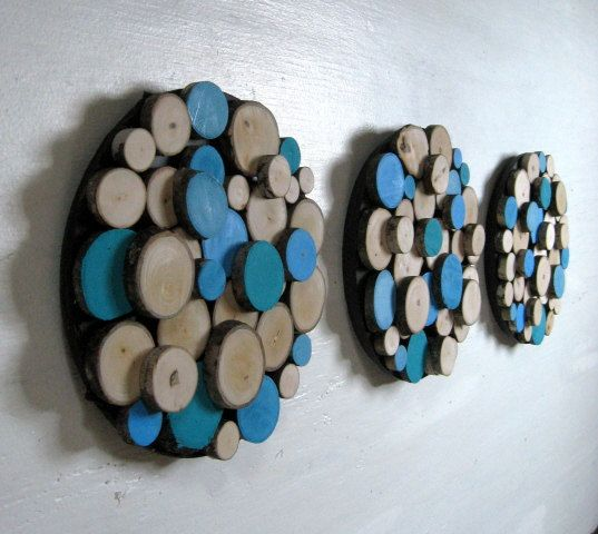 Rustic Wood Slice Wall Sculpture  Painted 8 by RusticModernDesigns, $90.00...fun for the eyes.
