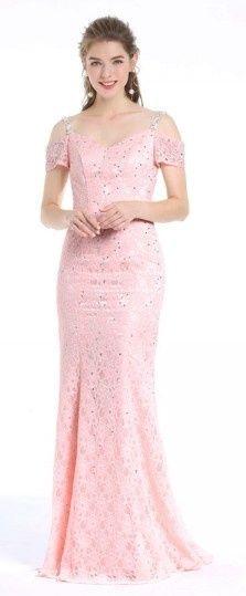 Robe sirène de soirée longue rose claire épaules dénudées avec fines bretelles ornée de paillettes