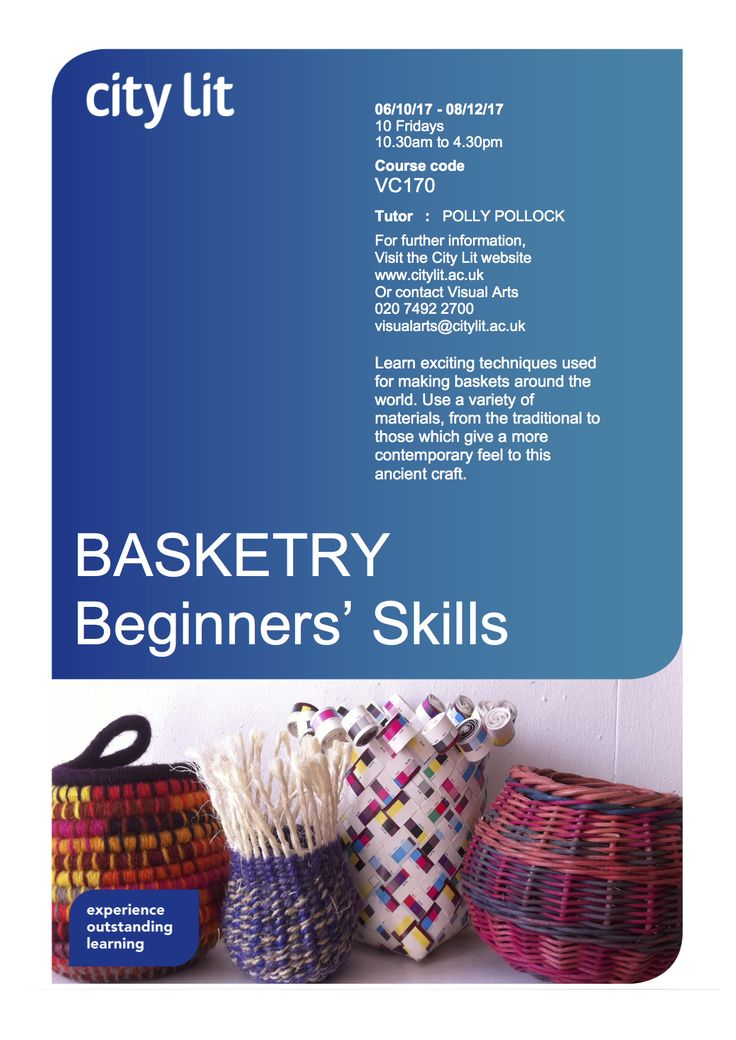 BASKETRY : Beginners Skills VC170 Still time to enrol on this 10 week course starts City Lit Fri 6th Oct, 10.30 to 4.30  More info www.citylit.ac.uk/…/beginners-skills-for…/vc170-1718  On this course find out how to prepare and dye materials, then learn how to use them  : Stake & Strand, Twining, Plaiting and Coiling  You'll learn lots - it's fun too ....  contact Visual Arts in you've any questions visualarts@citylit.ac.uk or 020 7492 2700/2703 and to enrol call 020 7831 1831