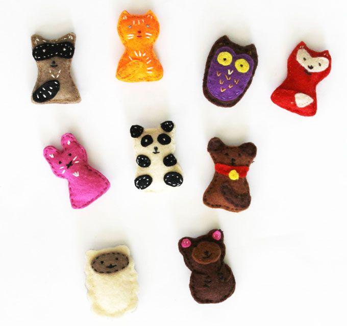 Mini Felt Animals inspired by Jane Bull's Crafty Creatures.