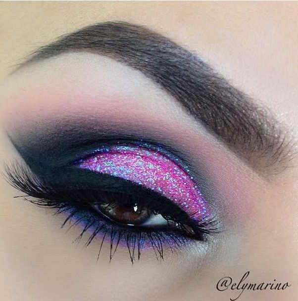 Pink glitter eye makeup - gorgeous!