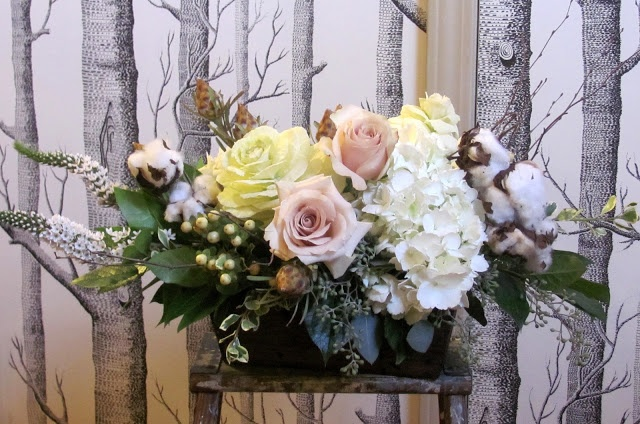 Soft Pastel Long And Low Centerpiece With Raw Cotton