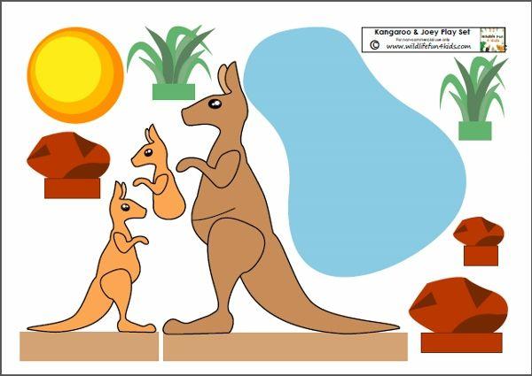 Po et obr zk na t ma klokani koalov je ury a spol na for Kangaroo puppet template