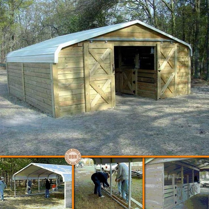 "Prev Page 1 of 3 Next >> We started with an 18 x 20 carport by CoverAll with 5' legs We enclosed the sides and ends with 5/4"" x 6"" treated lumber. Dividers were built and stalls were created. Each stall is approximately 6 x 7. These may seem small,..."