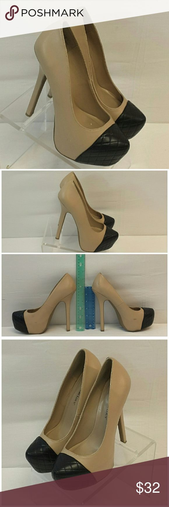 "JUST FABULOUS, Two-tone Heeled Platform Pumps sz 8 JUST FABULOUS, Two-tone Heeled Platform Pumps, size 8, 6"" stilleto heels, 2"" platform, Quilted toe, man made material. Rulers for reference only (blue is 6"", green is 12""). See pictures for scratches, scuffs, marks. *PLUS* DORI, Made in USA, Strapless Dress, size 3X Just Fabulous Shoes Heels"