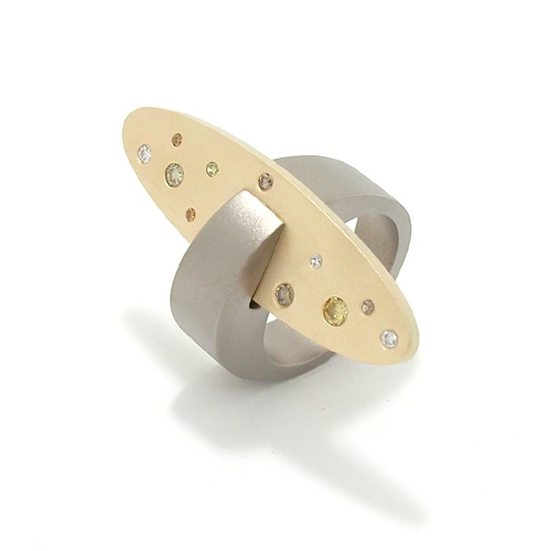 Ring | Marc Lange. Titanium with yellow gold and fancy coloured diamonds.