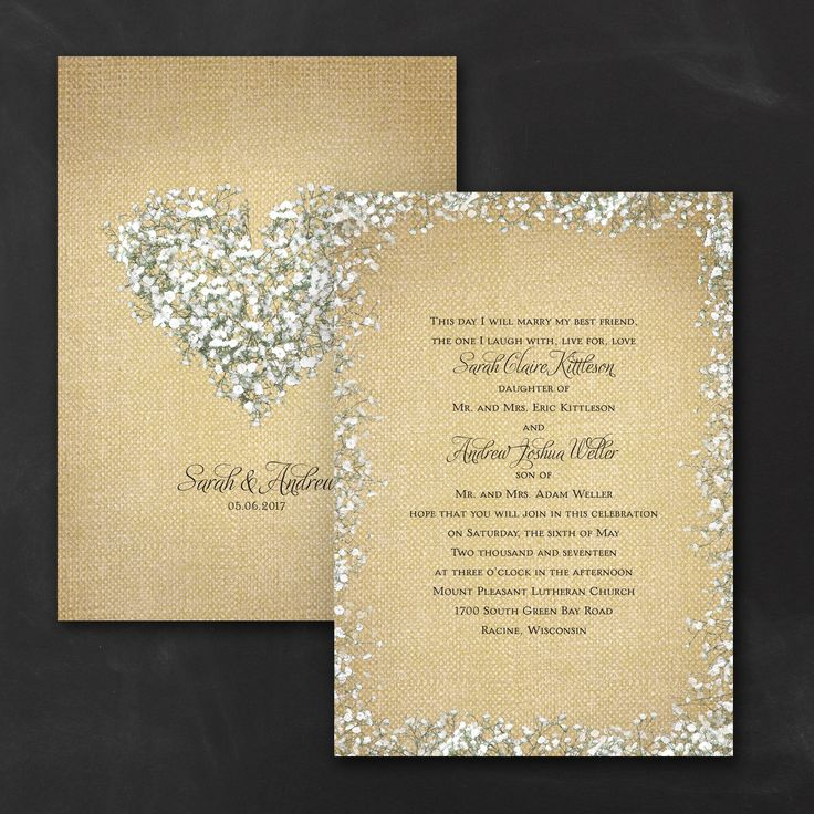 box wedding invitations online%0A Burlap Blossoms Rustic Wedding Invitations Burlap and baby u    s breath  whispers rustic wedding style  Show how much you love it with the pattern  and romantic