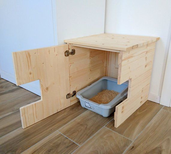 Corner Litter Box Cover Pet House Cat Litter Box Cabinet Pet Furniture Made Of Spruce Wood ねこ インテリア 猫の家具 猫小屋