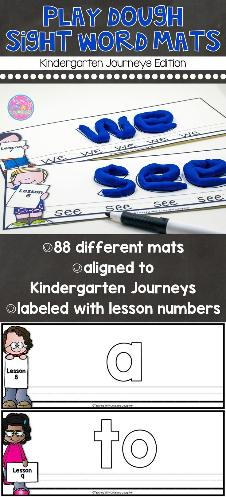Children need to learn sight words and children love to play with play dough. So, why not combine the two?   These mats contain all the kindergarten 2014 Journeys sight words. However, they can be used to help children learn sight words even if you do not use Journeys.