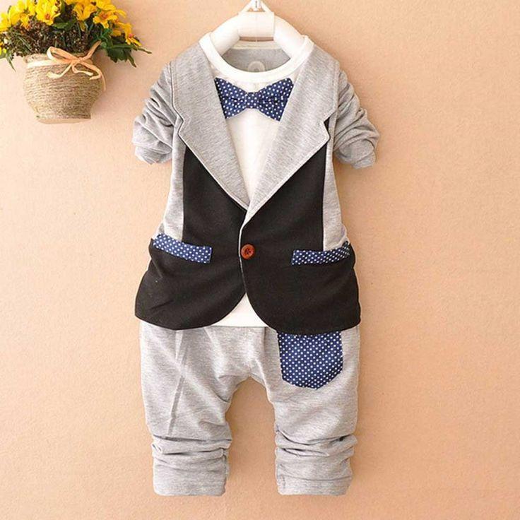 13.46$  Buy now - http://alidnf.shopchina.info/go.php?t=32750585468 - Autumn Roupas De Bebe Boys Male Baby Infants Clothing Sets Faux two Piece Blazer Coat Outwear+Long Pants 2pcs Clothes Sets Y1549 13.46$ #magazineonlinewebsite