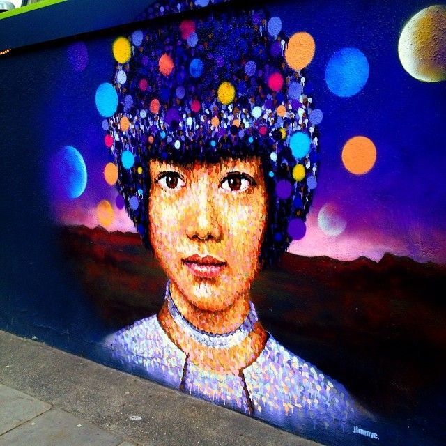 #JimmyC mural of a woman with the planets, Caledonian Rd #graffiti #wallart #streetart #london #kingscross