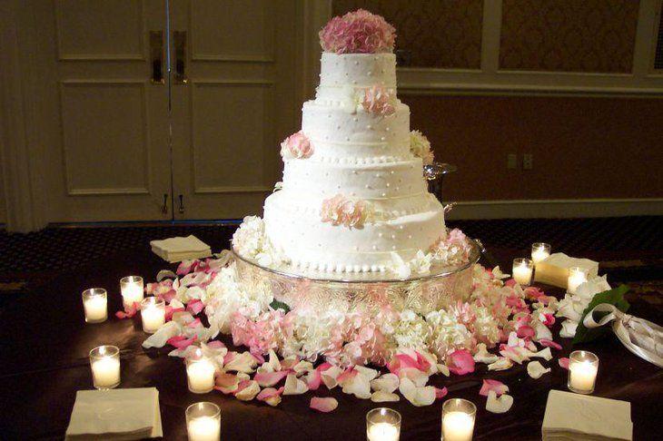 Round Wedding Cake Table Decorations Using Flowers And Candle Votive Wedding Cake Table Decorations Wedding Cake Decorations Wedding Cake Table