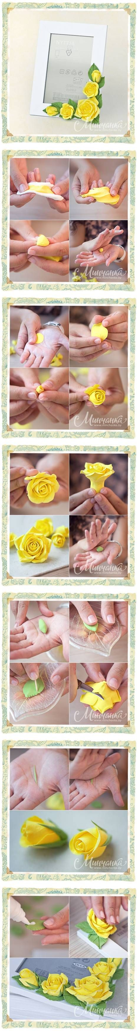 DIY Gyönyörű Clay Yellow Rose DIY Beautiful Clay Sárga rózsa