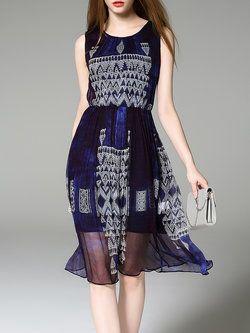 Blue Crew Neck Sleeveless Geometric Midi Dress