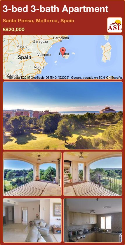 3-bed 3-bath Apartment in Santa Ponsa, Mallorca, Spain ►€820,000 #PropertyForSaleInSpain