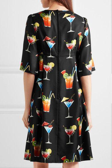 Dolce & Gabbana - Printed Silk-twill Dress - Black - IT40