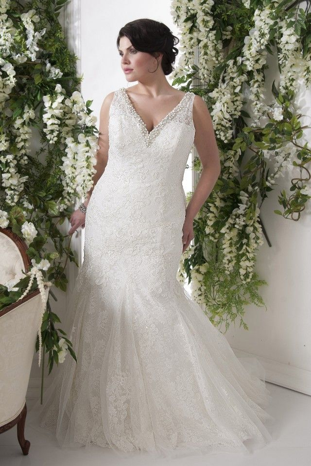Superb Trumpet Mermaid Sweetheart Lace Straps Plus Size Wedding Dresses with Applique Beading