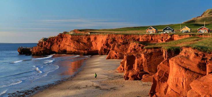 Falaises de plage de la Dune du Sud, Îles de la Madeleine, Québec, Canada: