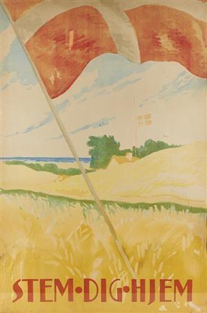 Lauritz.com - Grafik - Thor Bøgelund. Vintage plakat / Valgplakat 'Stem Dig Hjem'. Litografisk tryk (cd) - DK, Herning, Engdahlsvej