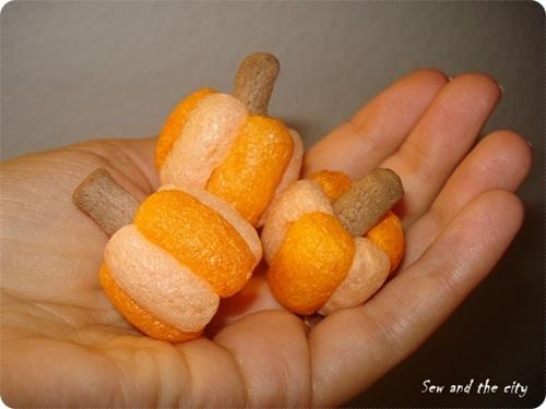 Miniature playmais pumpkins