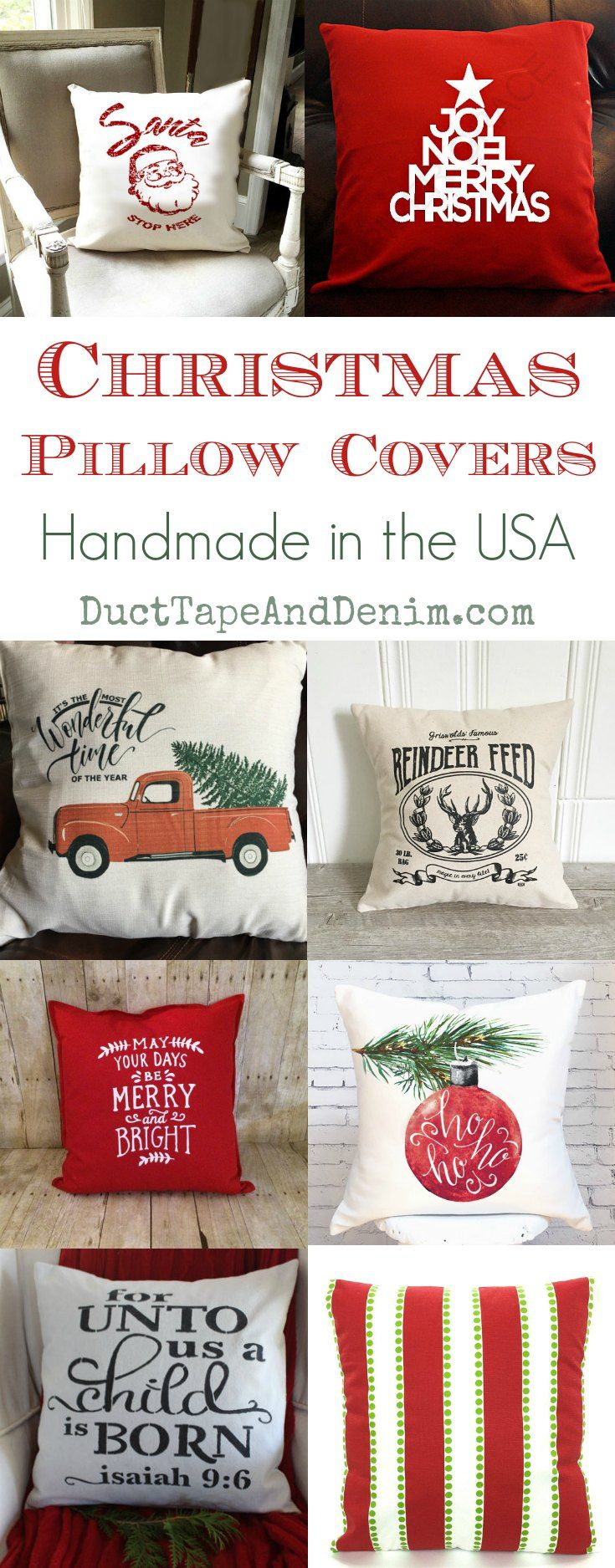 Christmas pillow covers, handmade in the USA! Holiday pillows, throw blankets, DIY Christmas, and holiday decor ideas on DuctTapeAndDenim.com  #christmaspillows #christmaspillowcovers