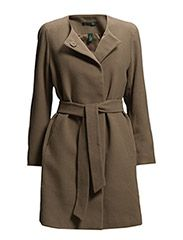 BELTED COLLARLESS WOOL - TRUFFLE