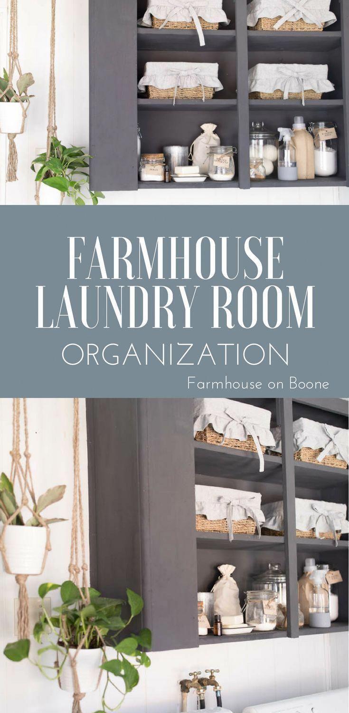 Farmhouse laundry room organization cabinet makeover laundry room