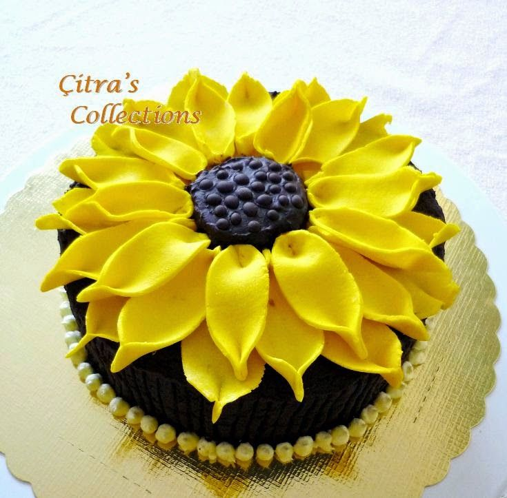 Citra's Home Diary: Steamed Chocolate Brownies with Sun flower decoration for Mother's Day