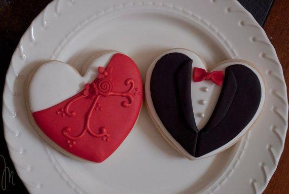 Bride and Groom Wedding Favor Cookies- 1 Dozen (6 Pair Set)- Cookie Favors, Wedding Cookies, Bridal Shower Cookies via Etsy