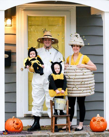 Diversión familiar de disfraces de Halloween - Abejas, Colmena y apicultor de vestuario de la familia