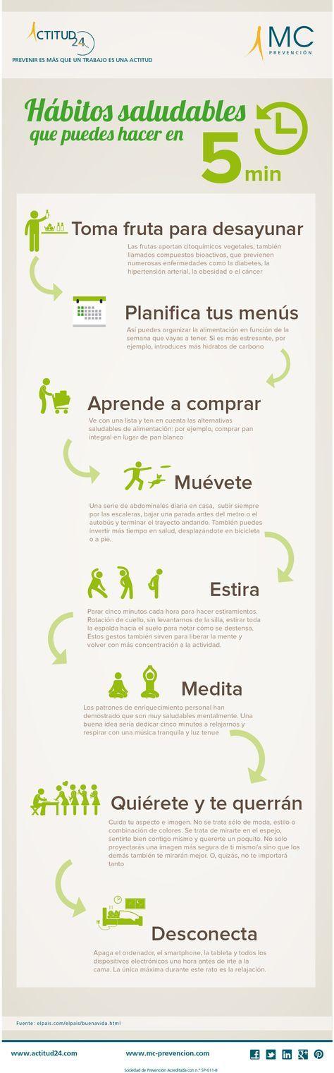 #Infografía sobre Hábitos saludables que puedes hacer en cinco minutos. #Actitud24 #Salud