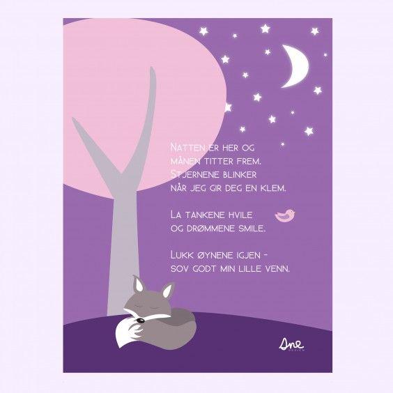 Plakat God Natt rosa #poster #plakat #barnerom #babyrom #interiør #lillemeg